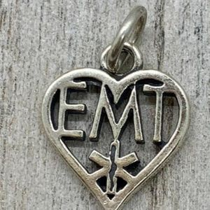 Heart EMT Sterling Silver Jewelry Charm